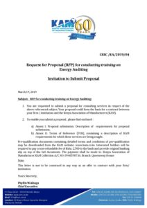 RFP for Energy Auditing Training 2019